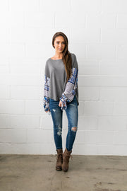 Patchwork Of Promises Top In Gray