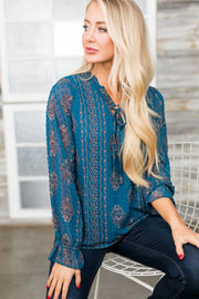 Pretty As A Peacock Chiffon Blouse