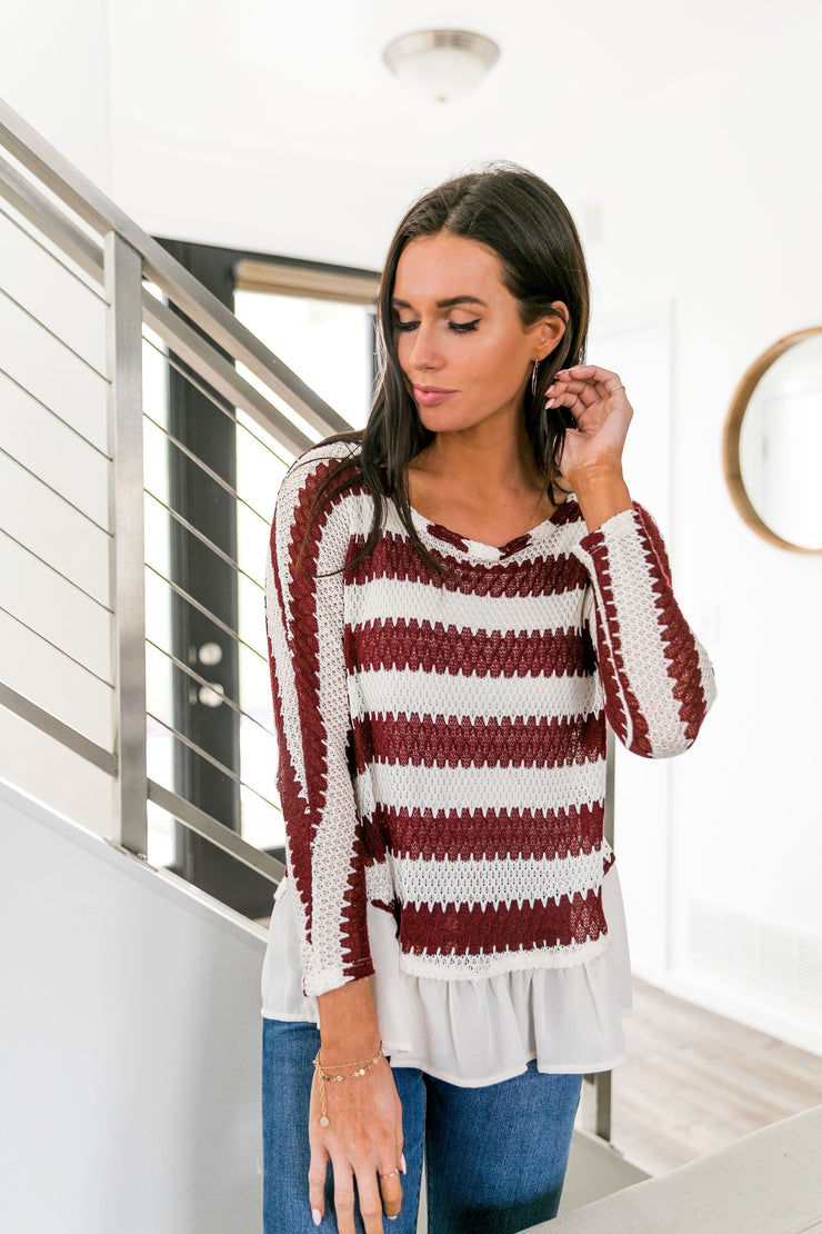 Ruffle Hem Burgundy Striped Top