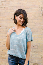 Sheer Summer Striped Top In Seafoam