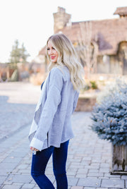 Tres Chic French Terry Cardigan In Gray