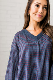 Two-Tone Houndstooth V-Neck