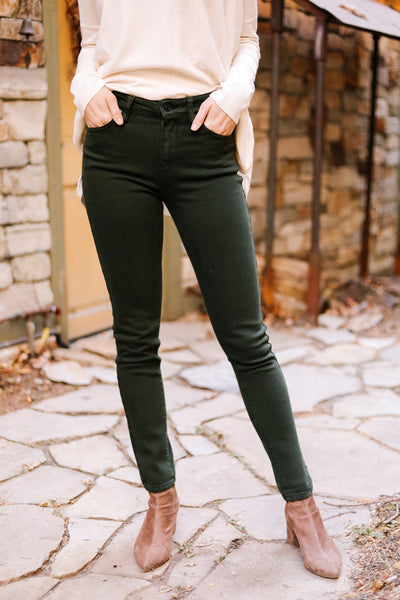 Wine And Dine Colored Jeans In Spruce