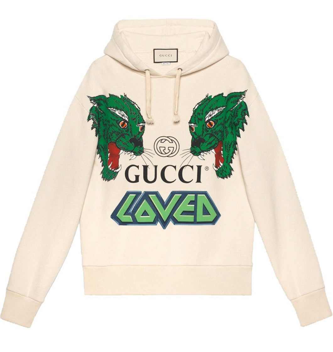 GUCCI COTTON SWEATSHIRT WITH TIGERS WHITE