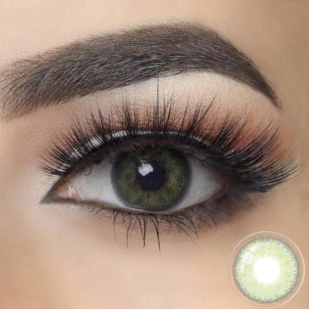 Green Color Contacts on dark eyes