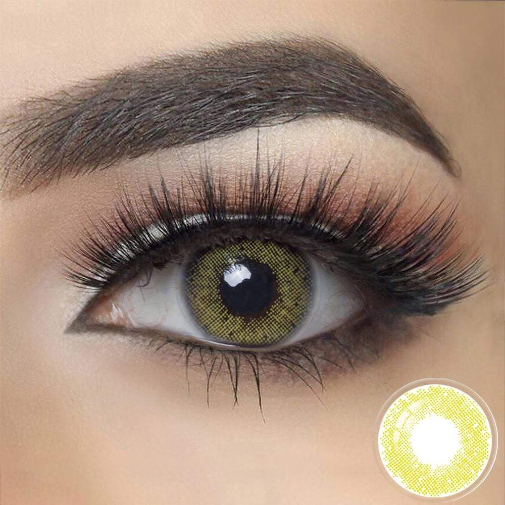 Lime Green Color Contacts on dark eyes