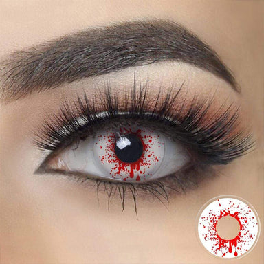 Crazy Blood Splat Halloween Contacts on dark eyes