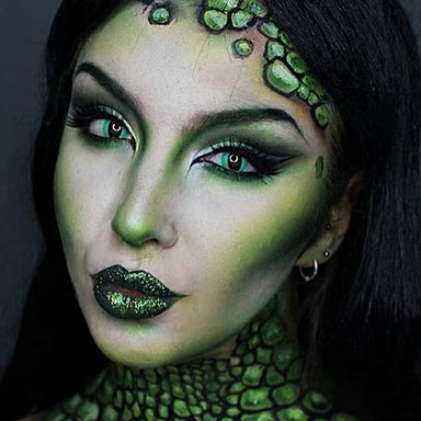 Model are wearing Green Cat Cosplay Contacts