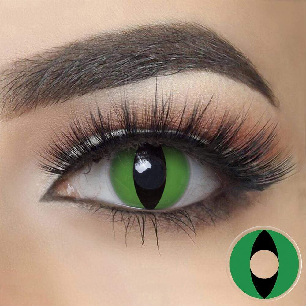 Green Cat Halloween Contacts on dark eyes