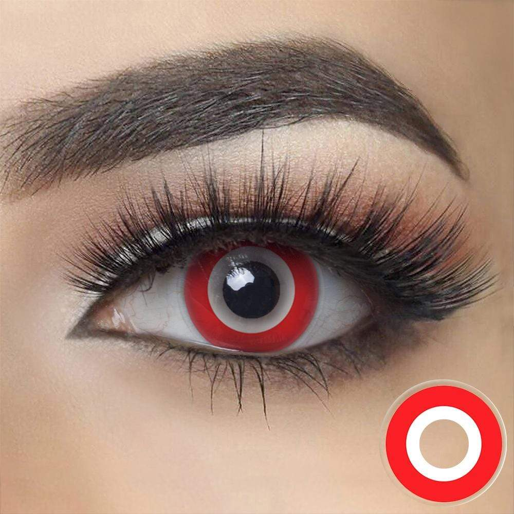 Red Ring Halloween Contacts on dark eyes