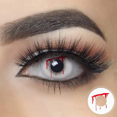 Shed Blood Halloween Contacts on dark eyes