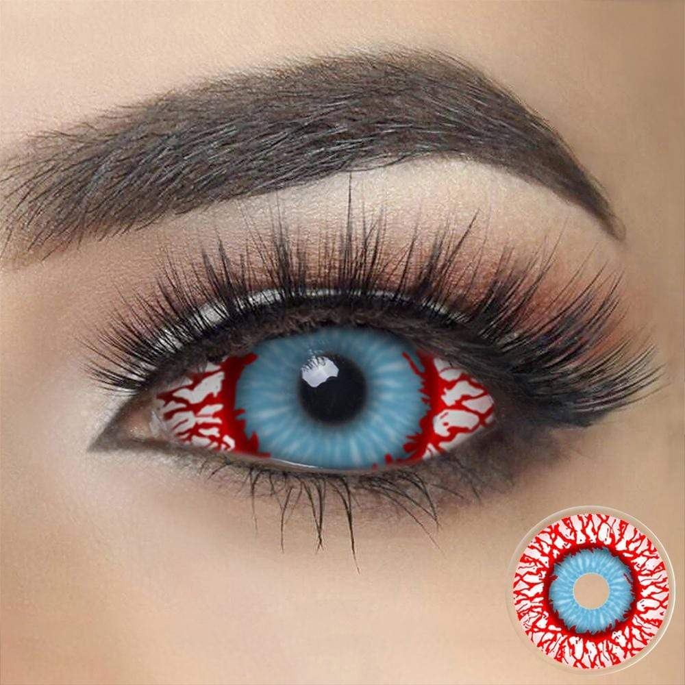 Bloodshot Infected Zombie Sclera Contacts on dark eyes