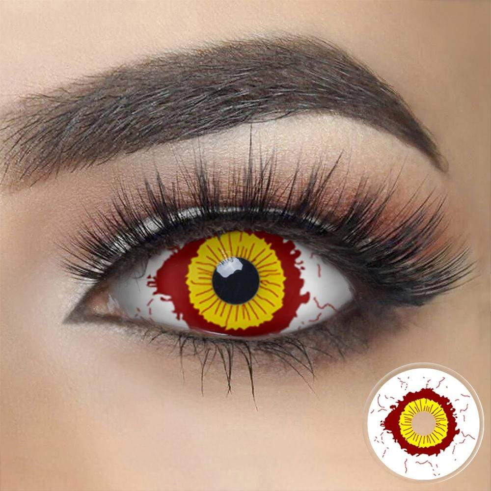 Fever Yellow and Red Sclera Contacts on dark eyes