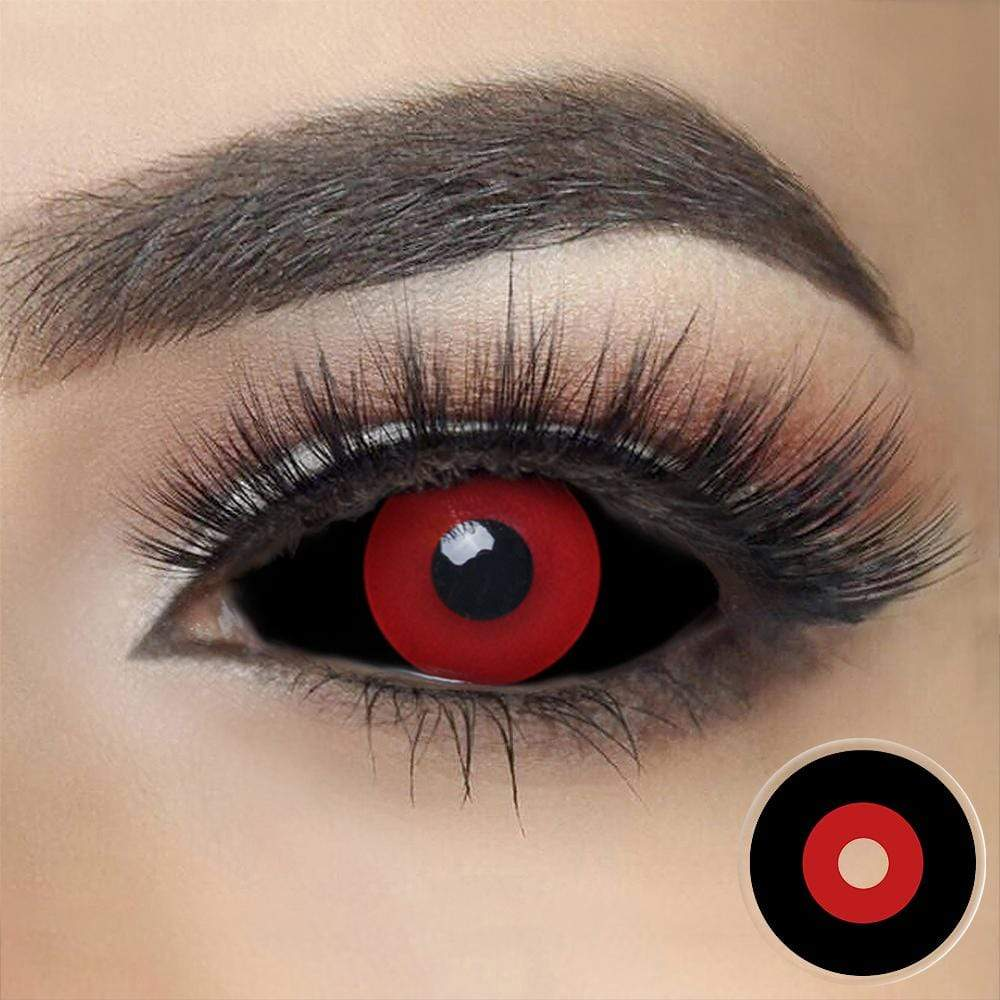 Jigsaw Black and Red Sclera Contacts on dark eyes