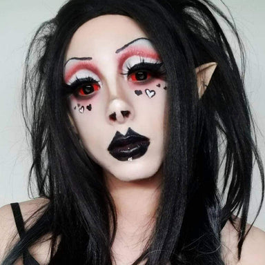Model are wearing Red and Black Sclera Contacts