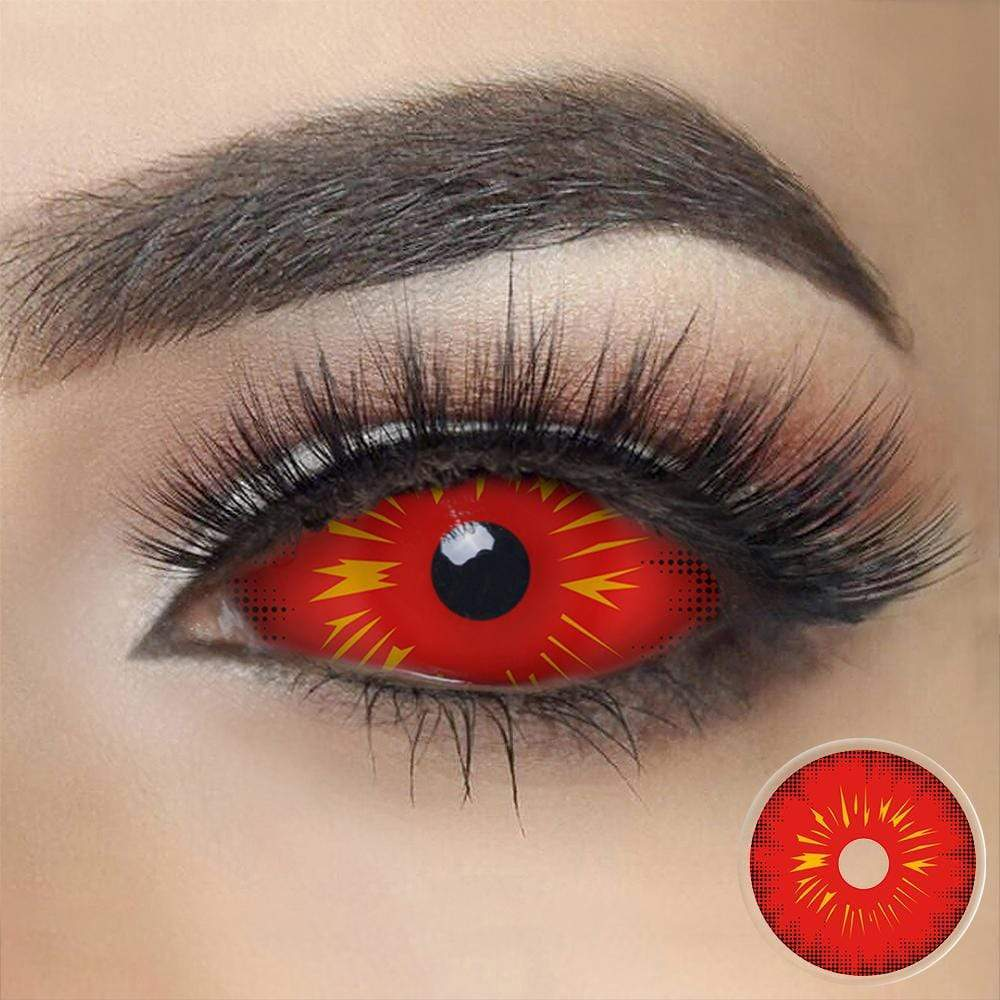 Red Fire Sclera Contacts on dark eyes