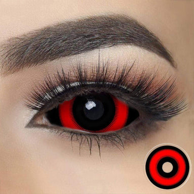 Red Ring Ghoul Sclera Contacts on dark eyes