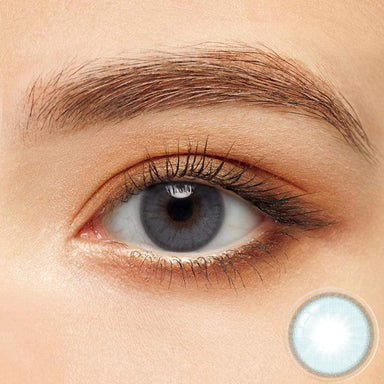 Aqua Blue contacts on dark eyes