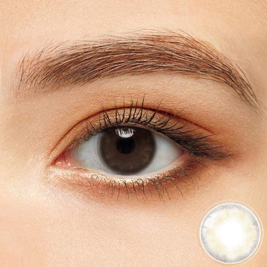 Petal brown colored contacts in the dark eyes
