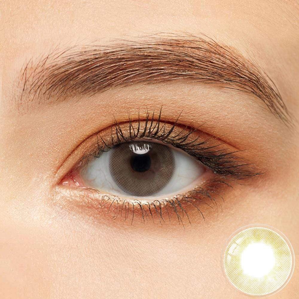 The effect of cocoa brown color lens on black eyes