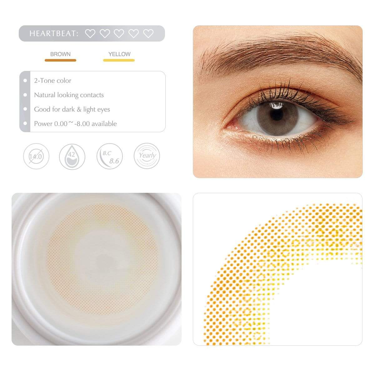 Cocoa brown color contact lens details display renderings