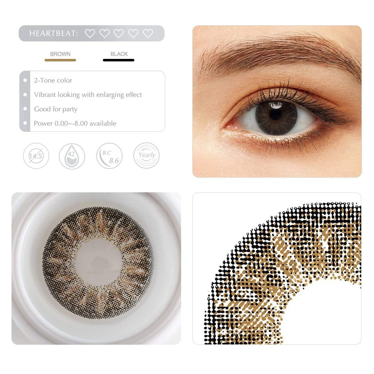 Diamond brown contact lens details display rederings