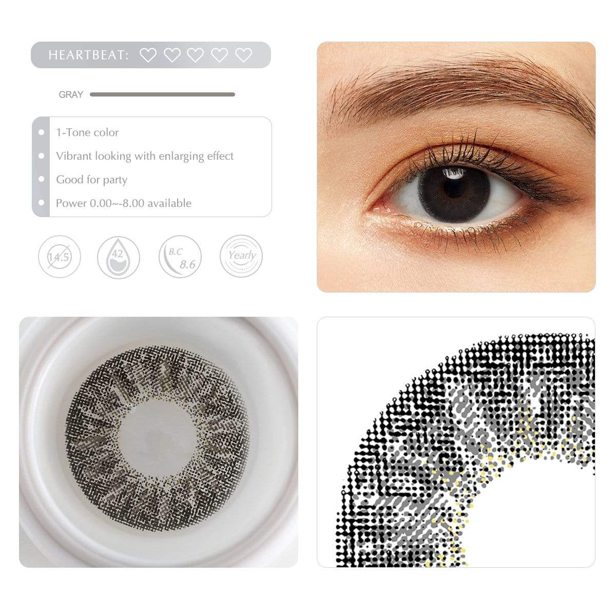 Diamond gray contact lens details display rederings