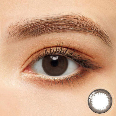 Hazel colored contacts in the dark eyes