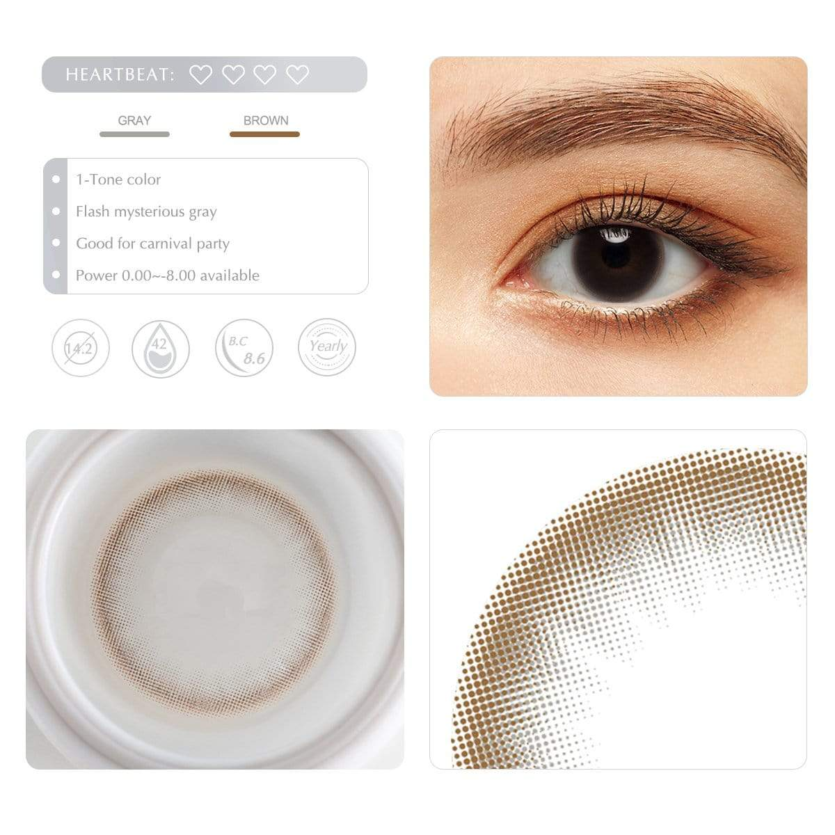 Choco gray contact lens details display rederings
