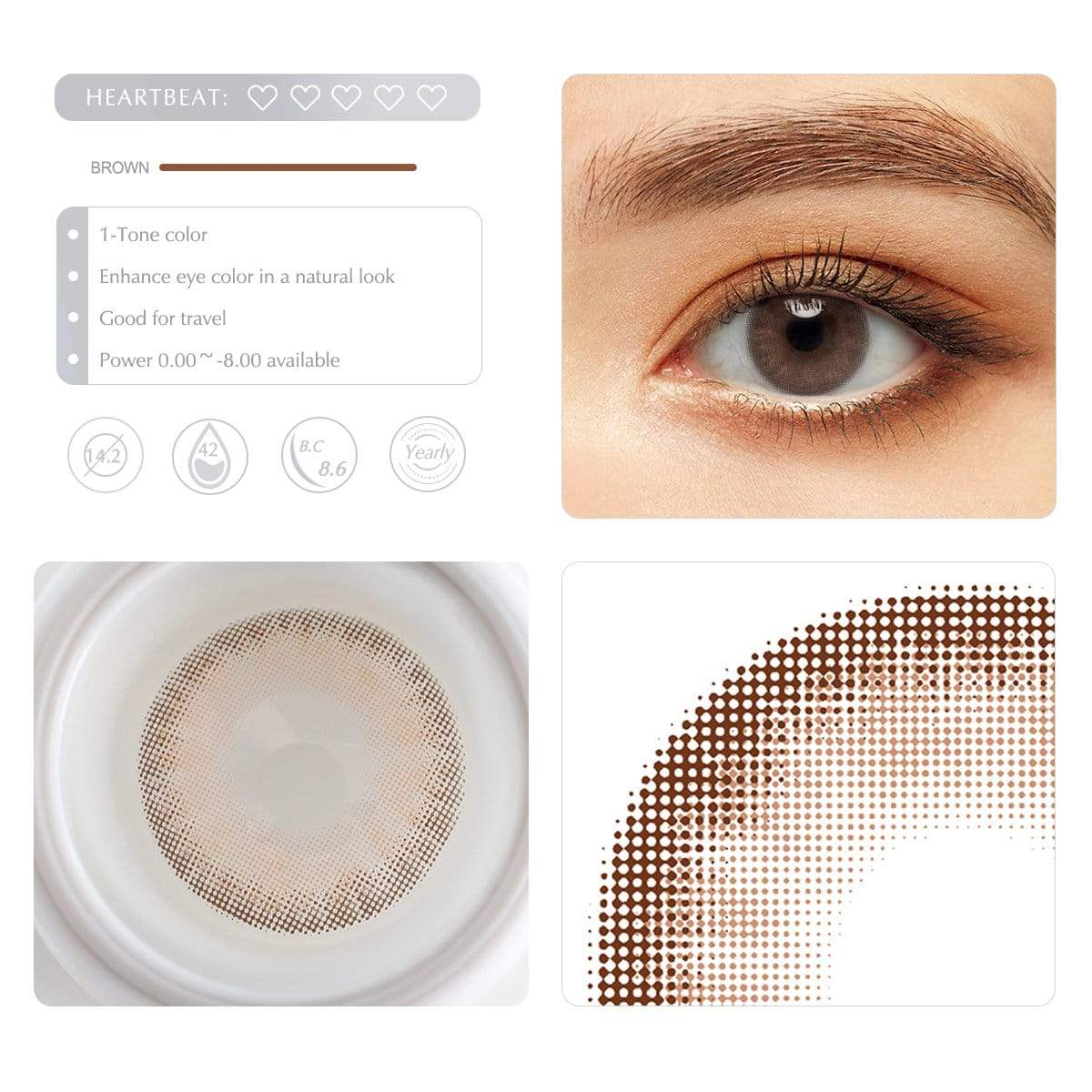 Caramel brown contact lens details display rederings