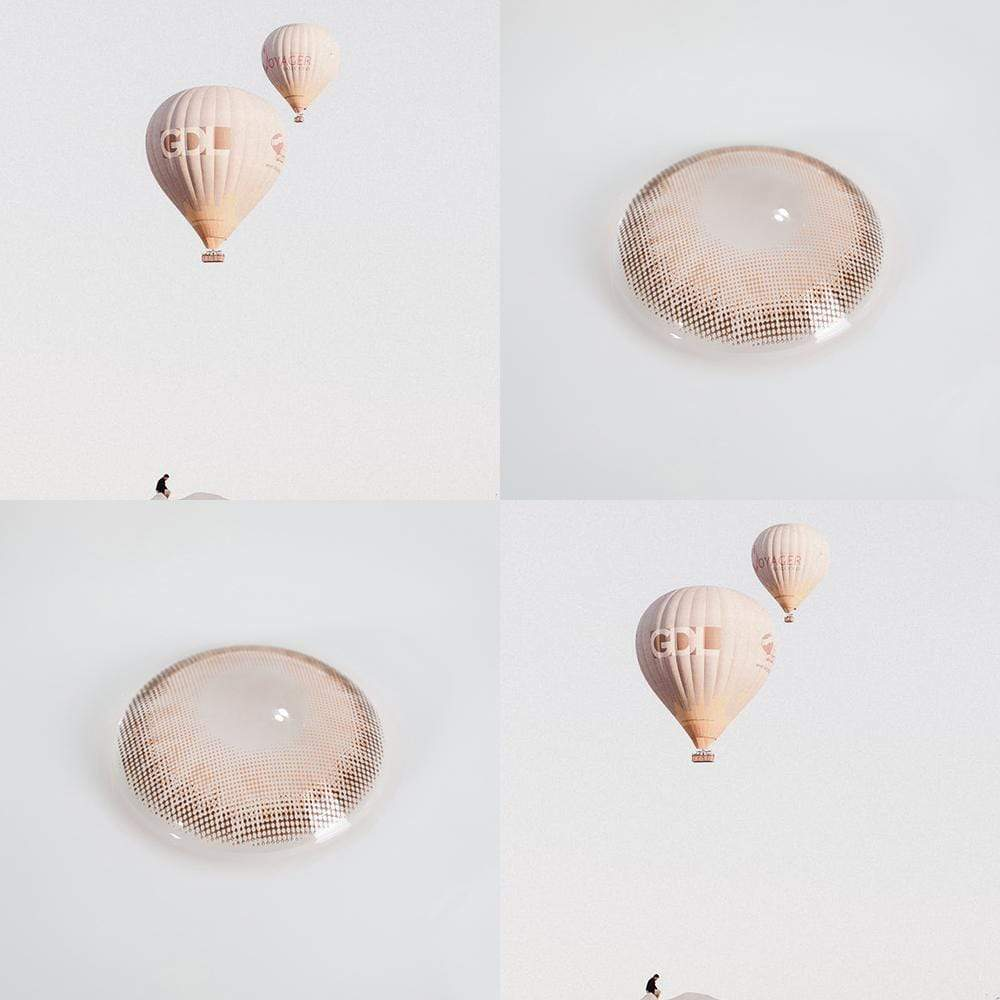 Contact lenses like brown hot air balloons