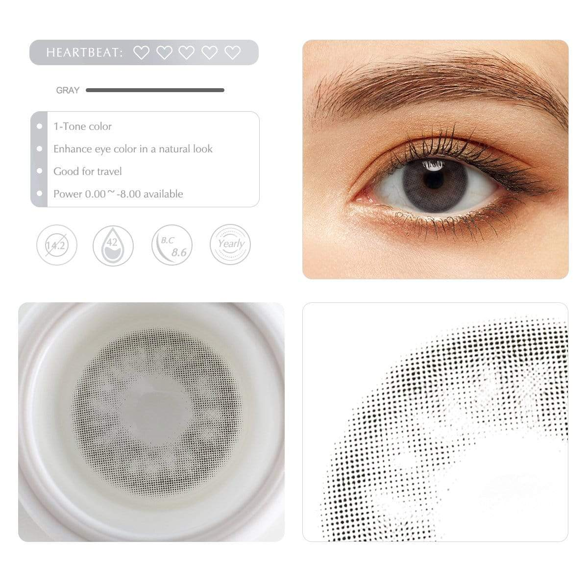 Cloudy gray contact lens details display rederings
