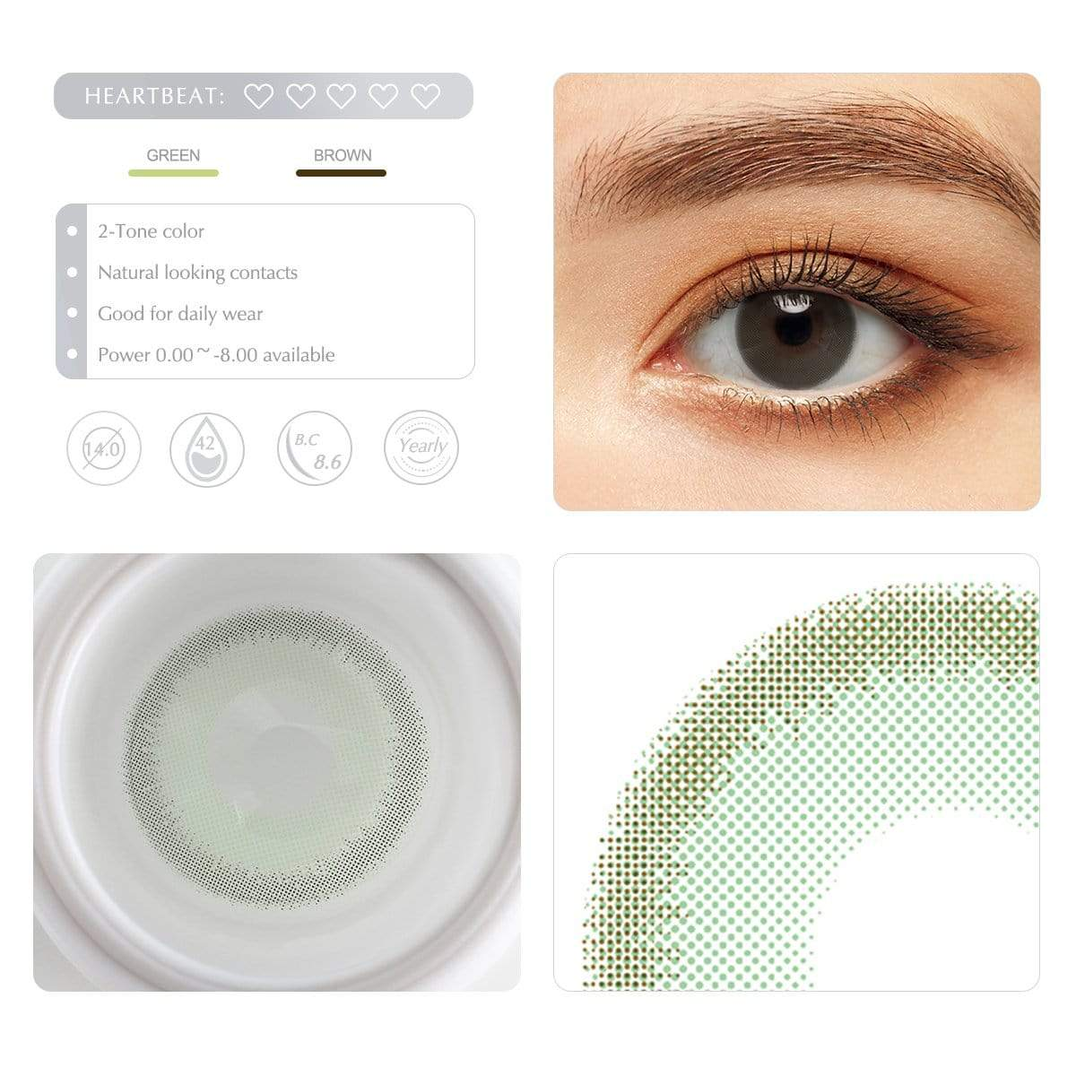 Green contact lens details display renderings