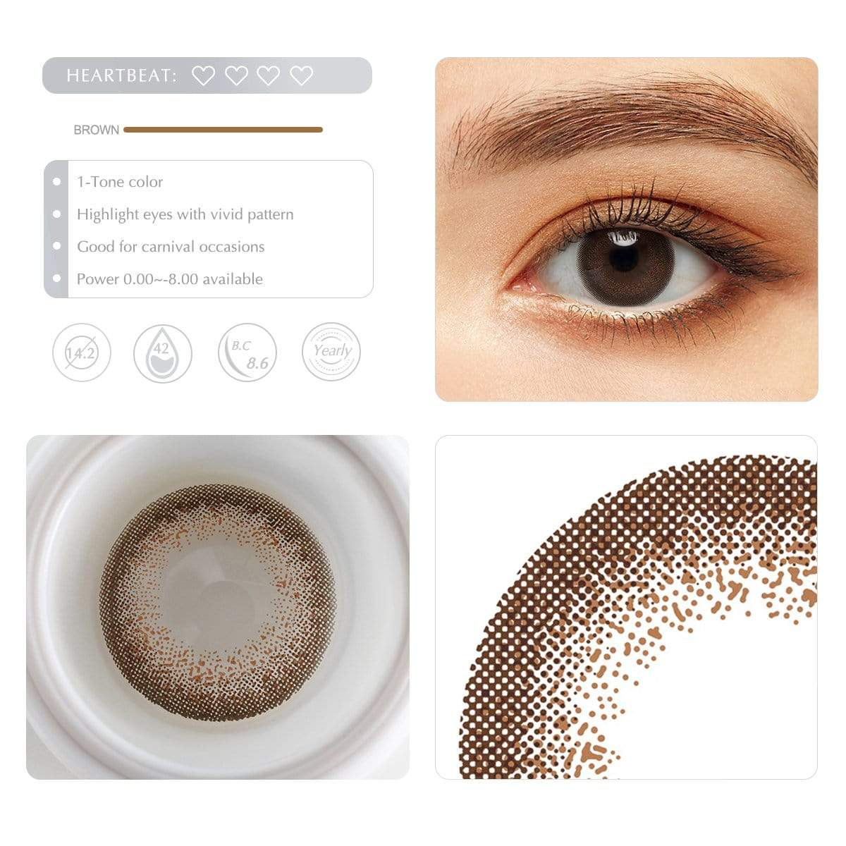 Choco brown contact lens details display rederings
