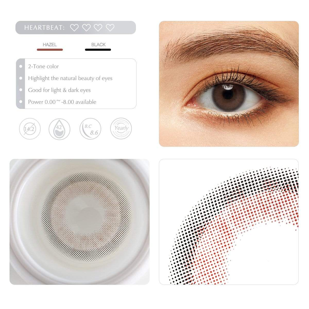 Dark hazel contact lens details display rederings