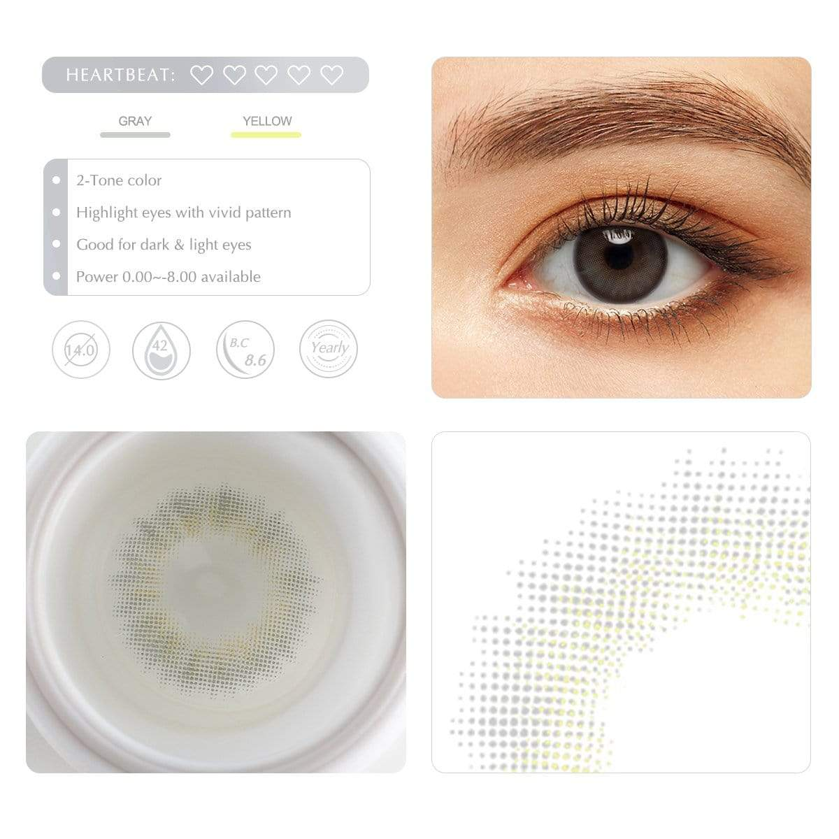 Gray contact lens details display rederings