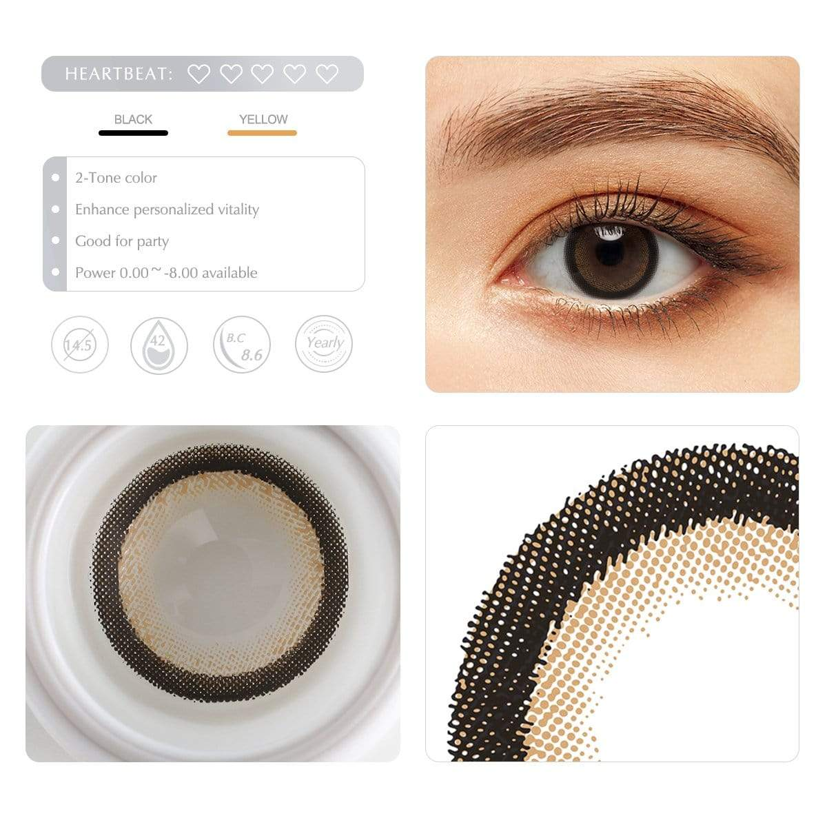 Bright brown contact lens details display rederings