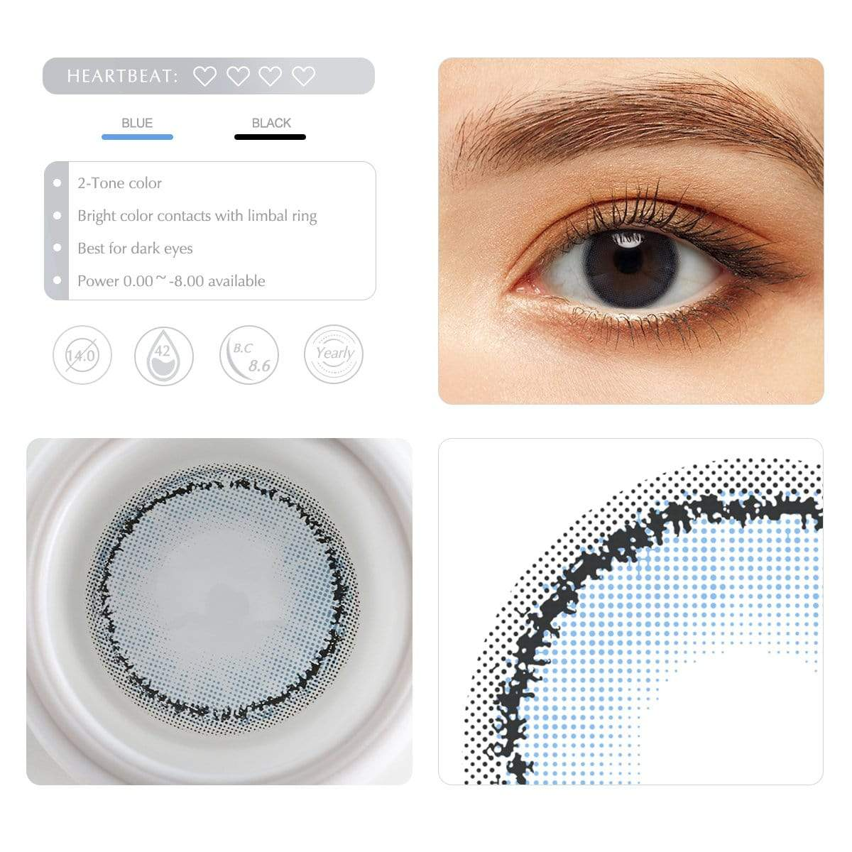Sky bue contact lens details display renderings