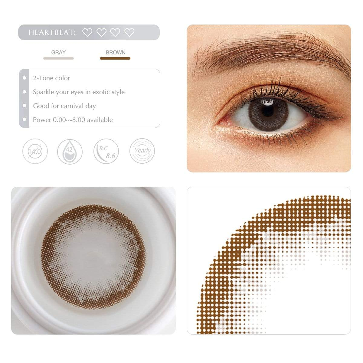 Choco gray cheap contact lenses details display rederings