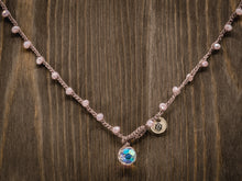 Load image into Gallery viewer, Pink Czech Faceted Marbled Glass Necklace