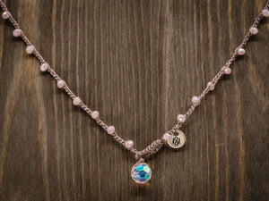 Pink Czech Faceted Marbled Glass Necklace