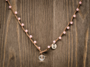 Matte Pink Cat's Eye Beaded Necklace
