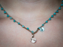 Load image into Gallery viewer, Small Blue and Green Glass Beaded Necklace
