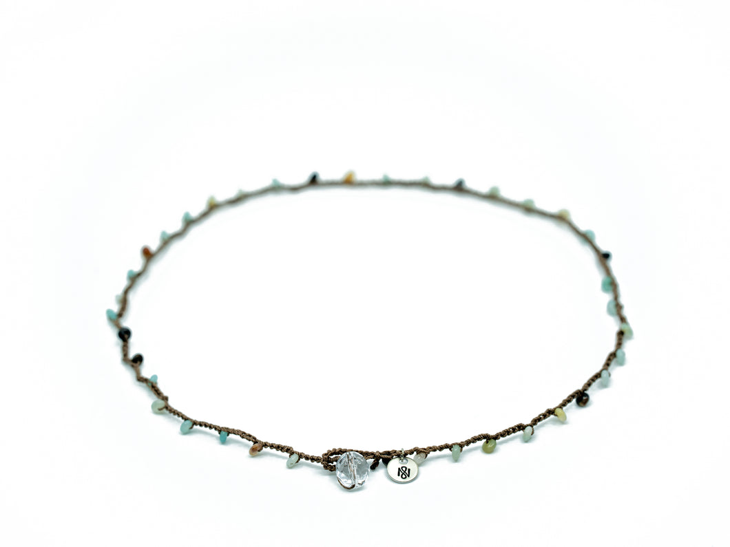 Amazonite Rondelle Earth Tone Beaded Necklace