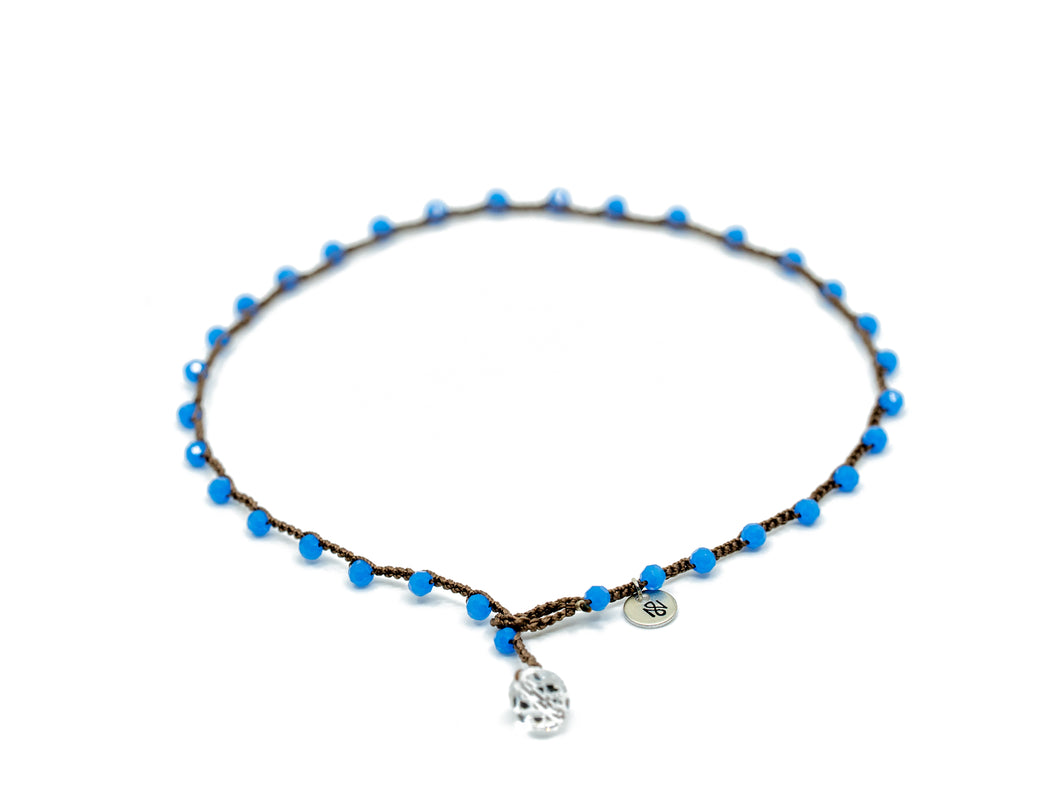 Blue Round Beaded Necklace