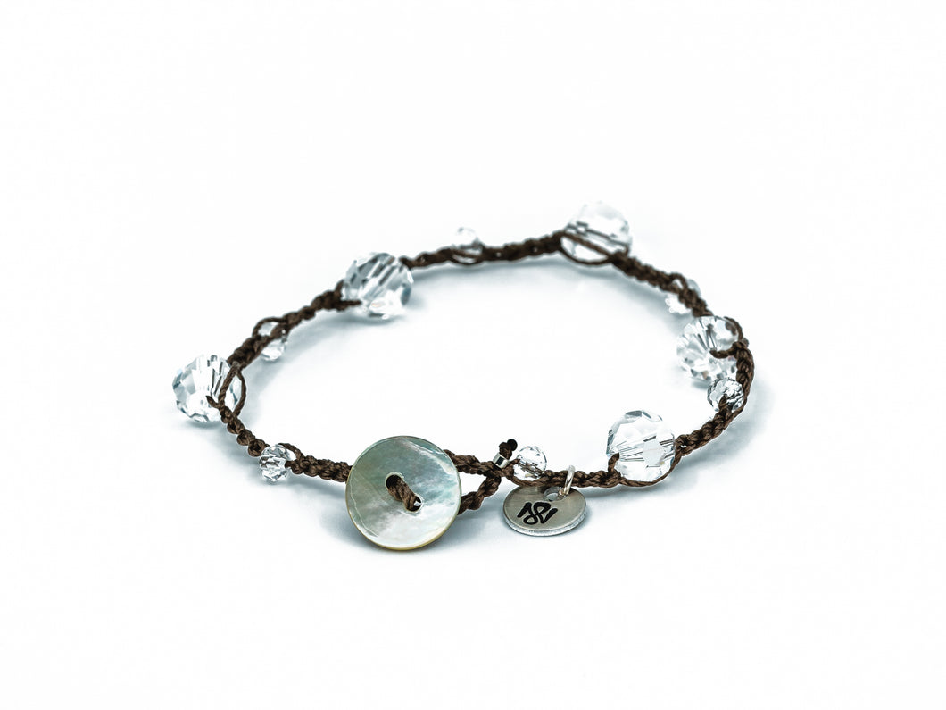 Clear Crystal Beaded Bracelet/Anklet with Shell Button