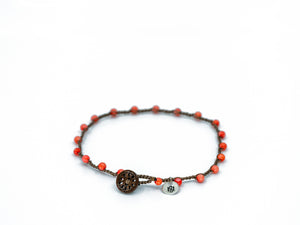 Coral Glass Beaded Bracelet/Anklet with a Button