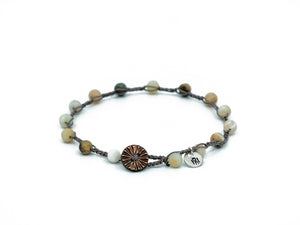 Earth Tone (6mm) Beaded Bracelet/Anklet w/ Button