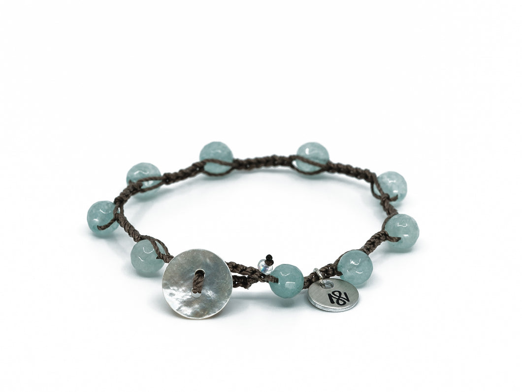 Blue Amazonite Stone Beaded Bracelet/Anklet w/ Shell Button