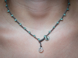 Aqua Cat's Eye Glass Beaded Necklace